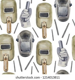 Welder watercolor seamless pattern. It consists of a welding mask and a helmet, gloved hands with an electrode holder of the euro type and electrodes with the main coating.