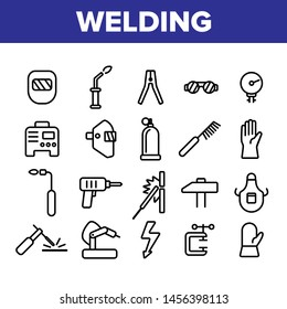 Welding Equipment Linear Icons Set. Construction, Welding, Brazing Tools, Stuff Thin Line Icons Collection. Welders Instruments, Protective Gear. Manufacturing Isolated Outline Symbols