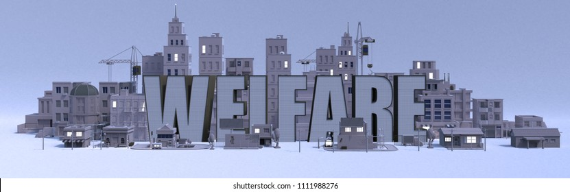 Welfare lettering name, illustration 3d rendering city with gray buildings