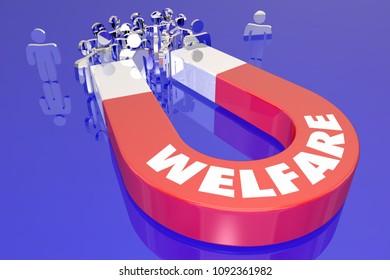 Welfare Magnet Recipients People Government Benefits Word 3d Render Illustration