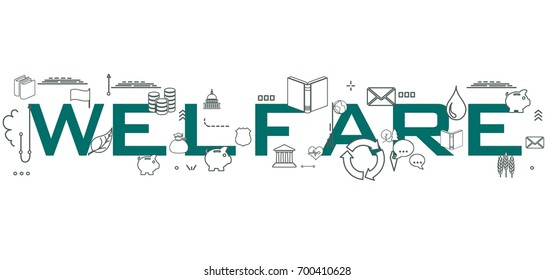 Welfare word isolated on white background with icons.