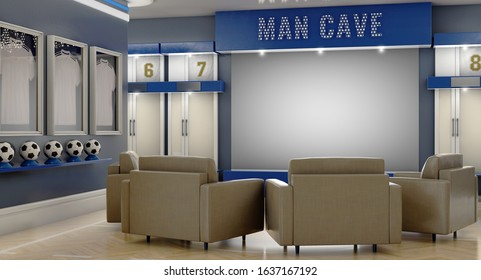 A well lit interior of a soccer themed man cave with sports memorabilia, lockers and large television screen surrounded by sofas - 3D render