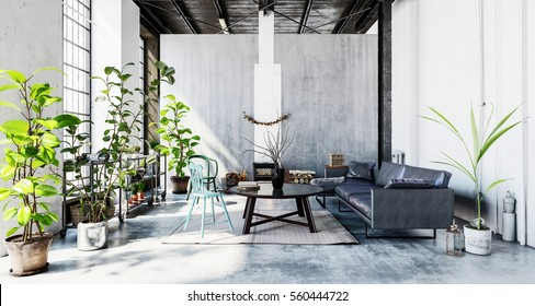 Well lit room with couch and coffee table and many green indoor plants, in grey interior of business office. 3d Rendering.