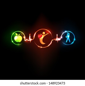 Wellness illustration.  Healthy food and fitness leads to healthy heart and life. Symbols connected with heart rate monitoring line.