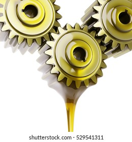 Well-Oiled Gears Teamwork Concept 3d Illustration Isolated on White
