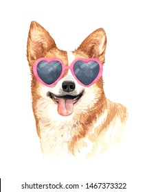 Welsh Corgi dog. Portrait of a dog. Watercolor hand drawn illustration.Watercolor  Welsh Corgi with heart shape sunglasses layer path, clipping path isolated on white background.