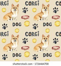 Welsh Corgi Pembroke, watercolor, dog, animal, pattern, Design for printing postcards, invitations, fabrics, bedding, baby clothes