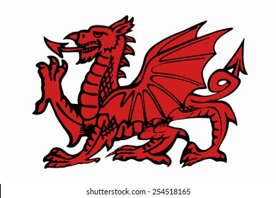 Welsh Dragon - appears on the national flag of Wales. The flag is also called Y Ddraig Goch. The oldest recorded use of the dragon to symbolize Wales is in the Historia Brittonum,  around AD 829.