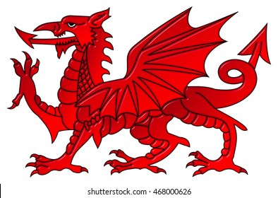 Welsh dragon with a bevel effect on an isolated white background