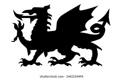 The Welsh Dragon in black silhouette set over a white background.