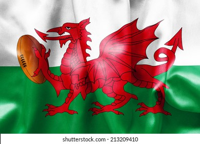 Welsh flag texture with a dragon holding a rugby ball