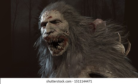 Wendigo mythical monster 3d render