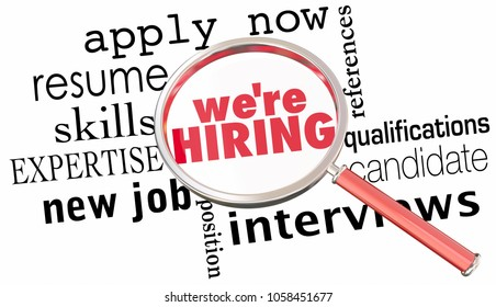 Were Hiring Magnifying Glass Get New Job Interview Apply 3d Illustration
