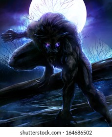Werewolf. Angry werewolf illustration with night forest background.