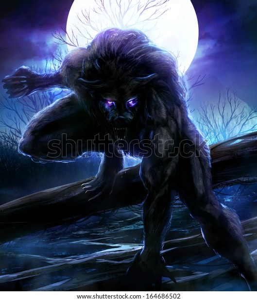Werewolf Angry Werewolf Illustration Night Forest Stock ...