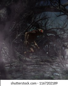 Werewolf in creepy forest,3d rendering for book cover or book illustration