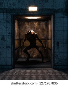 Werewolf in an elevator,3d rendering for book cover or book illustration
