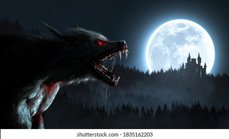 Werewolf growling in the moonlight over a full moon shining on a forest with a gothic house - 3D rendering - concept art