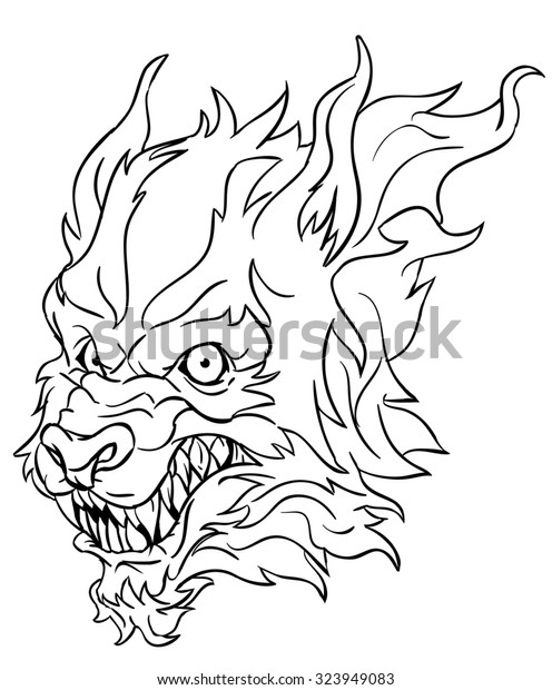 Werewolf Head Line Art Stock Illustration 323949083