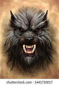 Werewolf head on the textured abstract background. Digital painting.