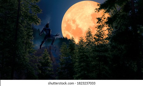 Werewolf howling in a dark cold  forest with a big  red full moon - concept art - 3D rendering