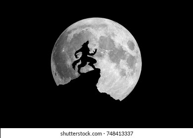 Werewolf howling at the moon