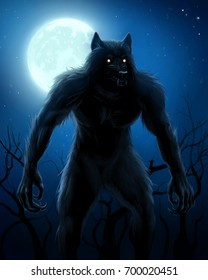 Werewolf On The Night Background With Full Moon Digital Painting