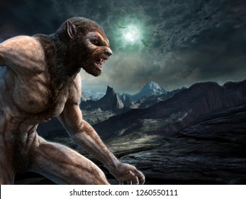 Werewolf scene 3D illustration