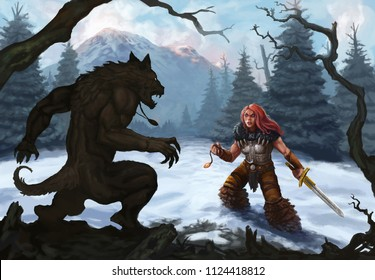 Werewolf and warrior in a snow covered mountain landscape ready to fight - Digital fantasy painting