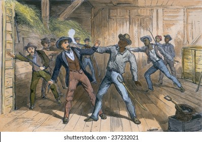 Wesley Harris a fugitive slave in a gun fight with slave catchers in a Maryland barn. Engraving from William Still's history UNDERGROUND RAILROAD 1872 with modern watercolor.