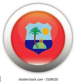 West Indies Cricket Board Flag Aqua Button