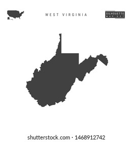 West Virginia US State Blank Map Isolated on White Background. High-Detailed Black Silhouette Map of West Virginia.