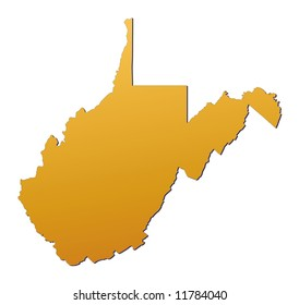 West Virginia (USA) map filled with orange gradient. Mercator projection.