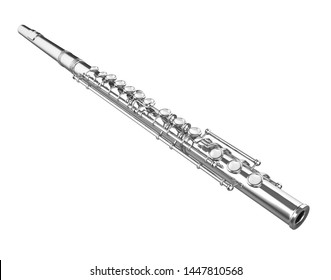 Western Concert Flute Isolated. 3D rendering