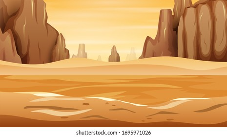 A western desert landscape with rock cliff mountain