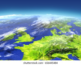 Western Europe from space. 3D illustration with detailed planet surface. Elements of this image furnished by NASA.
