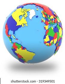 Eastern Hemisphere Political Map World Countries Stock Illustration