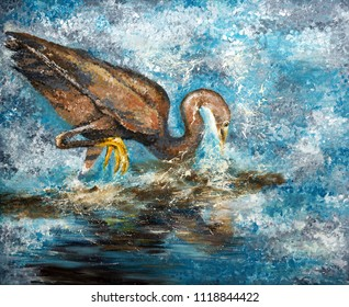 Western reef heron fishing, acrylic painting