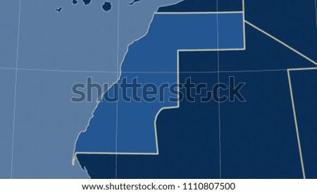 Western Sahara Area Map Azimuthal Equidistant Stock Illustration
