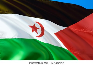 Western Sahara flag. 3D Waving flag design. The national symbol of Western Sahara, 3D rendering. National colors and National flag of Western Sahara for a background. Middle East sign on smooth silk