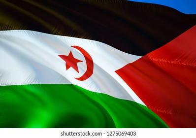 Western Sahara flag. 3D Waving flag design. The national symbol of Western Sahara, 3D rendering. National colors of Western Sahara 3D Waving sign background design. 3D ribbon, wallpaper, background