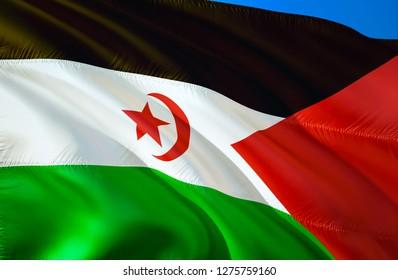 Western Sahara flag. 3D Waving flag design. The national symbol of Western Sahara, 3D rendering. Western Sahara 3D Waving sign design. Waving sign background wallpaper. 3D pattern background HD