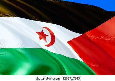Western Sahara flag. 3D Waving flag design. The national symbol of Western Sahara, 3D rendering. The national symbol of Western Sahara background wallpaper. 3D ribbon, wallpaper, pattern background