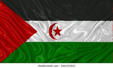 Western Sahara Flag of Silk, Flag of Western Sahara fabric texture background.