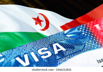 Western Sahara visa document close up, 3D rendering. Passport visa on Western Sahara flag. Western Sahara visitor visa in passport. Western Sahara multi entrance visa in passport.