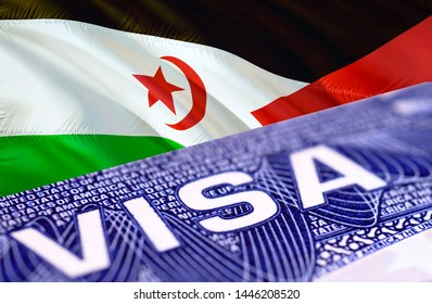 Western Sahara Visa Document, with Western Sahara flag in background, 3D rendering. Western Sahara flag with Close up text VISA on USA visa stamp in passport.Visa passport stamp travel Western Sahara