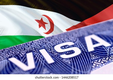 Western Sahara Visa in the passport, 3D rendering. Closeup Visa to The Western Sahara focusing on the word VISA. Travel Western Sahara visa in passport close-up. Western Sahara multi entrance in