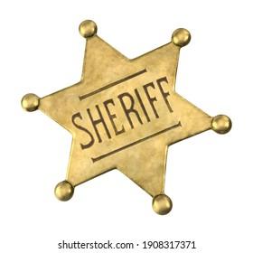 Western Sheriff Badge 3D illustration on white background