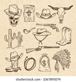 Western symbols. Cowboy, guns, saloon and other wild west pictures set. hand drawn pictures. Wild west concept, gun revolver and skull, cactus and sack of money illustration