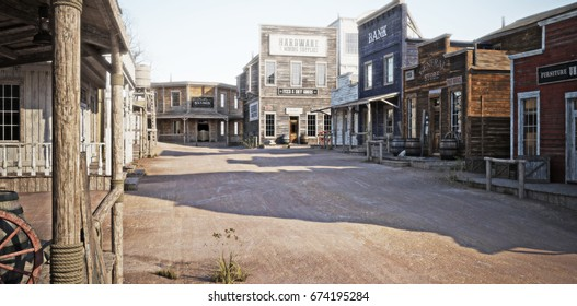 Western town with various businesses . 3d rendering